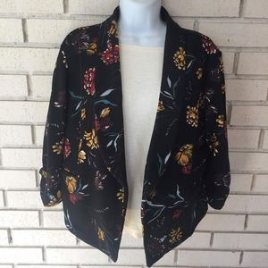 Maurices Floral Stretchy Blazer 3/4 rouched sleeve
